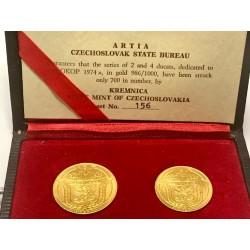 Sada zlatých dukátů Jsem ražen z českého kovu 1974 ARTIA