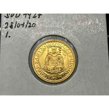 Zlatá mince Svatý Václav Jednodukát Československý unc1927