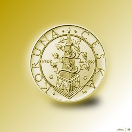 Zlatá mince 2500 Kč Tolar moravských stavů 1995 - 1996 Proof