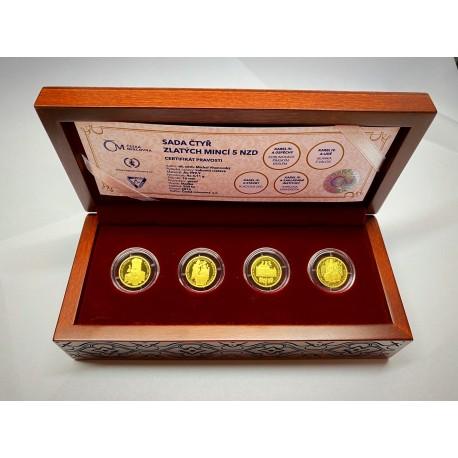 Sada 4 zlatých mincí Karel IV úspěchy (700 let od narození)