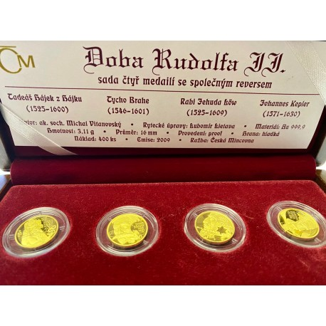 Sada čtyř zlatých medailí Doba Rudolfa II