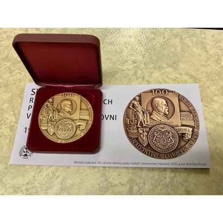 Medaile 100. výročí obnovy ražby medailí v Mincovně Kremnica