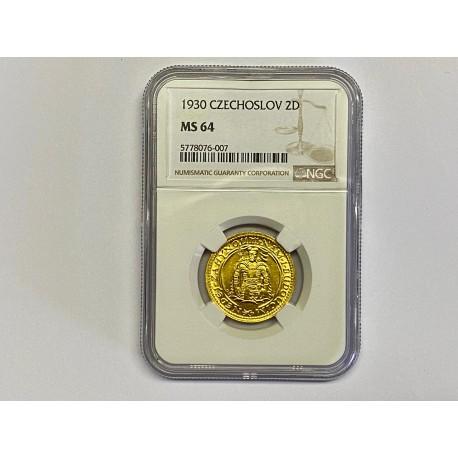 Zlatá mince Svatováclavský 2 Dukát 1930 MS 64 !!!