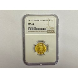 Zlatá mince Svatý Václav Jednodukát Československý 1925 MS 63 !!!