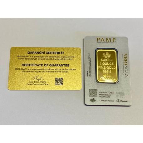 Zlatý slitek PAMP 31,1gr