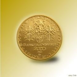 Zlatá mince 2000 Kč Rotunda Ve Znojmě Románský Sloh 2001 Proof