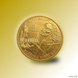 Zlatá mince 2000 Kč Klášter Ve Vyšším Brodě Raná Gotika 2001 Proof