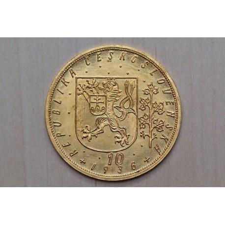 Zlatá mince Svatováclavský 10 Dukát 1936
