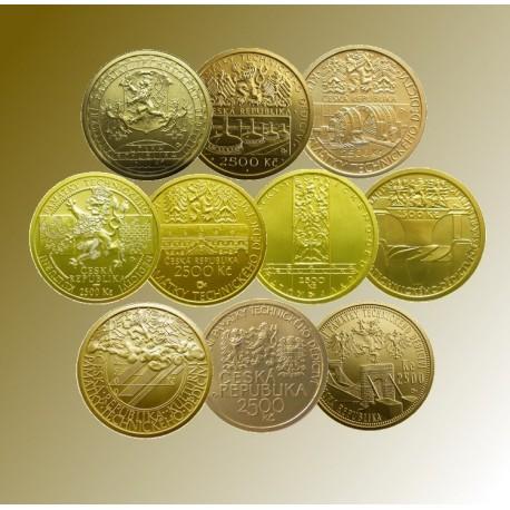2006-2010 - 10 zlatých mincí Kulturní památky technického dědictví -BK