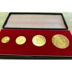 Sada 4 zlatých dukátových medailí 1978 - Karel IV.
