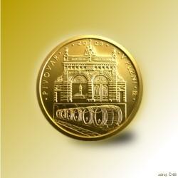 Zlatá mince 2500 Kč Pivovar v Plzni 2008 Standard_