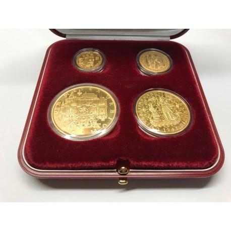 Sada 4 pozlacených dukátových medailí - Karel IV.PROOF