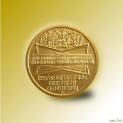 Zlatá mince 2000 Kč Lázeňský Dům v Lázních Bohdanči Kubismus 2005 STD