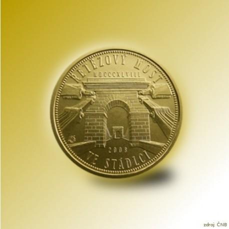 Zlatá mince 2500 Kč Řetězový most ve Stádlci 2008 Proof